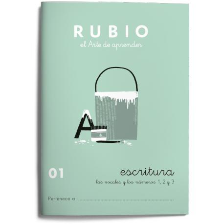 Cuaderno Rubio Escritura nº 1 Las vocales y los números 1, 2 y 3 con puntos, dibujos y grecas