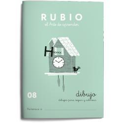 Cuaderno Rubio Escritura nº 08 Dibujos para seguir y colorear