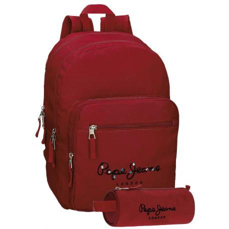 Mochila Pepe Jeans 42,5x30,5x15 cm de Poliéster Harlow Roja adaptable a Ruedas + Estuche Escolar