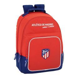 """Mochila Escolar Atlético de Madrid 42x32x16 cm Adaptable a carro """"Coraje y Corazón"""" Doble compartimento"""