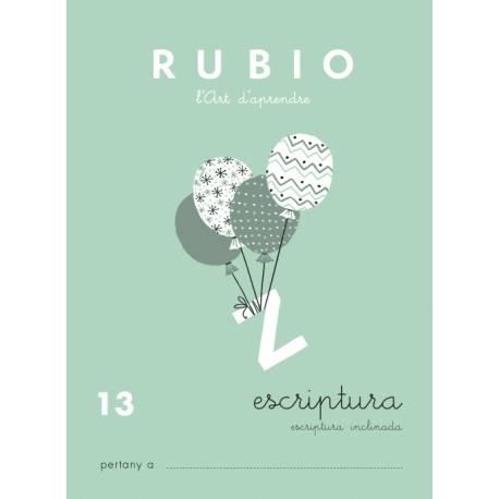 Cuaderno Rubio Escriptura nº 13 Escritura inclinada con letras enlazadas en Catalán