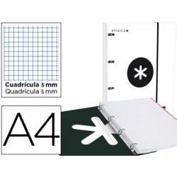 Carpeta con recambio Antartik A4 4 anillas 40 mm Carton forrado Blanco