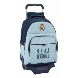 Mochila Escolar del Real Madrid 43x33x15 cm con Ruedas con Bolsillo frontal