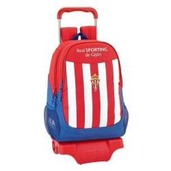 Mochila Escolar del Real Sporting De Gijon 43x33x15 Cm Con Ruedas