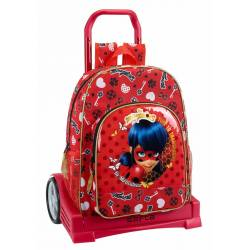 CARTERA ESCOLAR SAFTA CON CARRO LADYBUG SPARKLE 330X150X430 MM