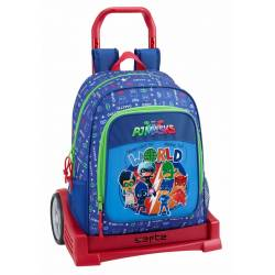 CARTERA ESCOLAR SAFTA CON CARRO PJ MASKS WORLD 330X150X430 MM