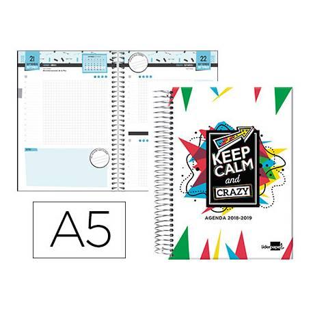 Agenda Escolar 18-19 Día Vista DIN A5 Espiral Bilingüe Liderpapel College Basic Blanco