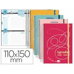 Agenda Escolar 18-19 Mini Dos Días Vista 110x150mm Espiral Bilingüe Liderpapel College con Goma No se puede elegir color