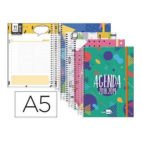 Agenda Escolar 18-19 Día Vista DIN A5 Espiral Bilingüe Liderpapel Classic con Goma No se puede elegir color