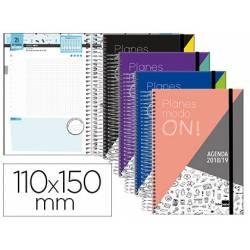 Agenda Escolar 18-19 Mini Día Vista 110x150mm Espiral Bilingüe Liderpapel College con Goma No se puede elegir color