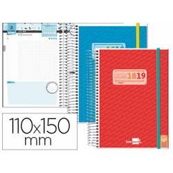 Agenda Escolar 18-19 Mini Día Vista Espiral Bilingüe Liderpapel College Goma Personalizable No se puede elegir color
