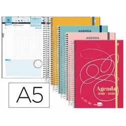 Agenda Escolar 18-19 Día Vista DIN A5 Espiral Bilingüe Liderpapel College con Goma No se puede elegir color