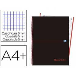 Cuaderno Oxford Ebook 1 DIN A4+ Negro y Rojo Tapa Extradura Cuadricula 5 mm