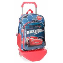 Mochila Infantil Cars Ultra Speed 38x29x12 cm de Microfibra con Carro