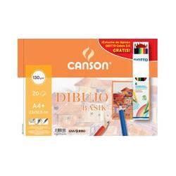 Bloc Dibujo Basik DIN A4+ Espiral 20 hojas 130 gr Microperforado Liso+Caja 6 lapices de colores Giotto