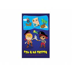 Invitacion para Fiesta Arguval Niños Troquelada Blister de 8 unidades Piratas