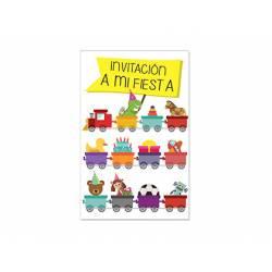 Invitacion para Fiesta Arguval Niños Blister de 8 unidades Trenecitos