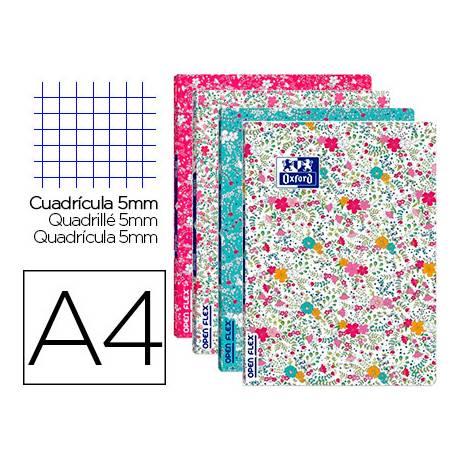 Cuaderno Oxford Openflex DIN A4 Cuadrícula 5mm tapa flexible Floral
