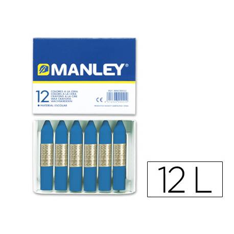 Lapices cera blanda Manley caja 12 unidades azul prusia