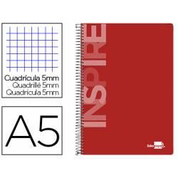 Cuaderno espiral Liderpapel A5 Micro Inspire Tapa dura 160H 5 Bandas 6 Taladros de Color rojo