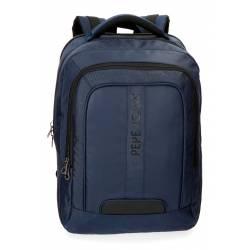 """Mochila para portátil Pepe Jeans 47x31x11 cm de Piel sintética Bromley azul 15.6"""" doble compartimento"""