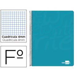 Cuaderno Espiral Liderpapel Write Tamaño Folio Cuadrícula 4 mm de Color Turquesa