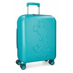 Maleta de cabina 55x40x20 cm Rigida Mickey Premium de color Turquesa