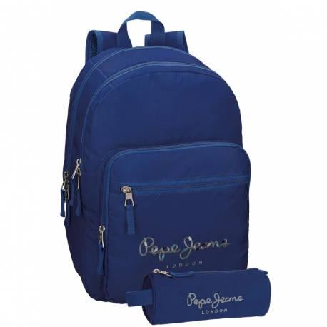 Mochila Pepe Jeans 30,5x42,5x15 cm de Poliester Harlow Azul Marino doble compartimento adaptable a carro